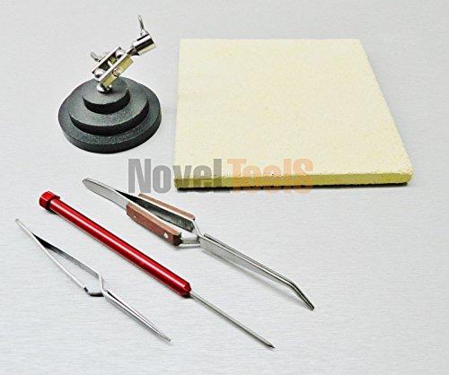 Jewelry Crafts Soldering Tools Kit Ceramic Solder Board Third Hand Pick Tweezers 22 FR-PD NOVELTOOLS