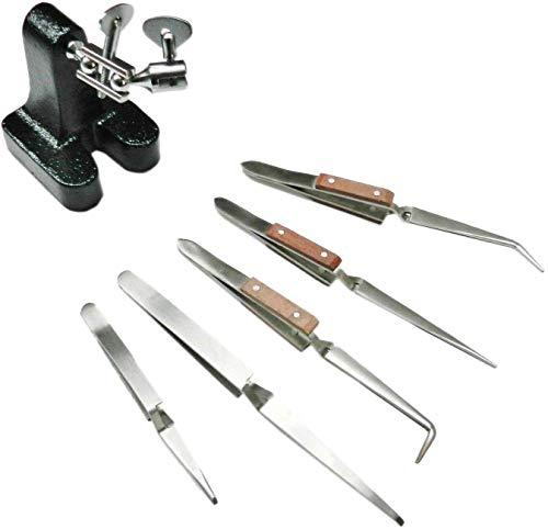 Legendary-Yes Heavy Third Hand Base w 5 Cross Locking Stainless Steel Tweezers Jewelry Tool