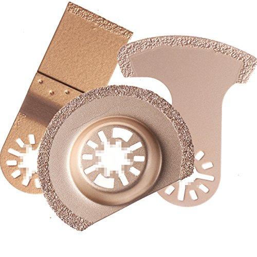 ZFE Crabide Diamond Oscillating MultiTool Blade set fits Fein Bosch Ryobi Dremel Makita Multimaster Multifunction Tools Pack of 3Pcs