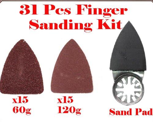 31 Pcs Finger Type Detail Sanding Kit Sanding Pad w Oscillating Multi Tool Saw Blades Sand for Fein Multimaster Bosch Multi-x Craftsman Nextec Dremel Multi-max Ridgid Dremel Chicago