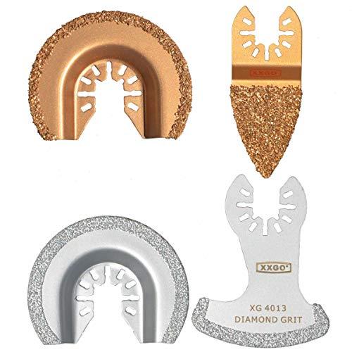 XXGO 4 Pcs Diamond Carbide Oscillating Multi Tool Semi Circle Finger Segment Swing Grit Grout Saw Blades XG4004