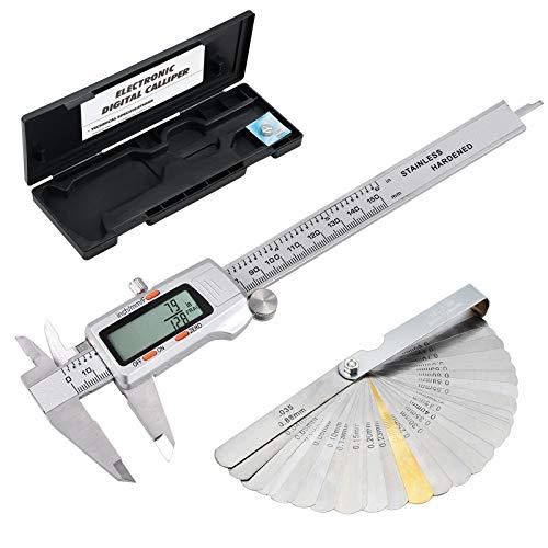 eSynic Digital Vernier Caliper  Feeler Gauge 150mm6Inch Stainless Steel Body Electronic Caliper FractionsInchMetric Conversion Measuring Tool for Length Width Depth Inner Diameter Outer Diameter