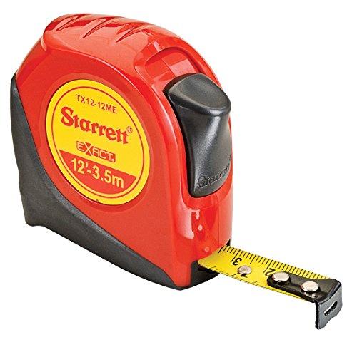 Starrett Exact KTX12-12ME-N ABS Plastic Case Red Measuring Pocket Tape EnglishMetric Graduation Style 12 35m Length 05 127mm Width 00625 Graduation Interval
