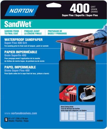 Norton 48060 Sandwet  Sandpaper 400 Grit 9-Inch x 11-Inch 5-Pack