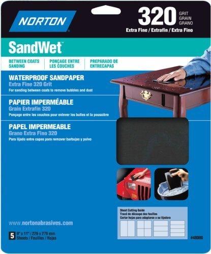Norton 48080 Sand Wet Sandpaper 320 Grit 9-Inch x 11-Inch 5-Pack by Norton