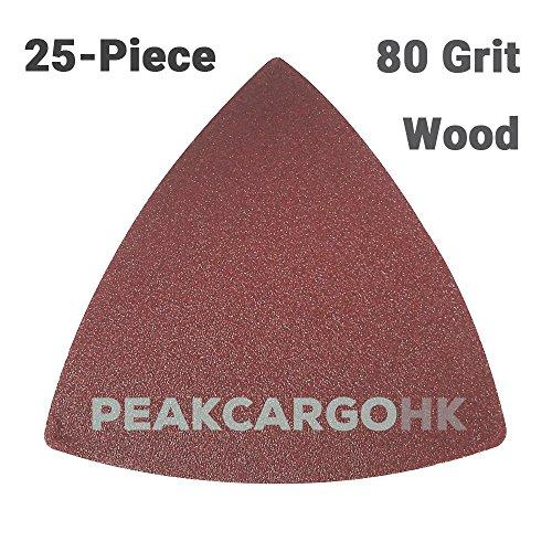 25-Piece 80-Grit Rough Triangular Hook Loop Abrasive Paper Sandpaper Sanding Sheets - Wood Universal Oscillating Fein Dremel Bosch Makita Ridgid