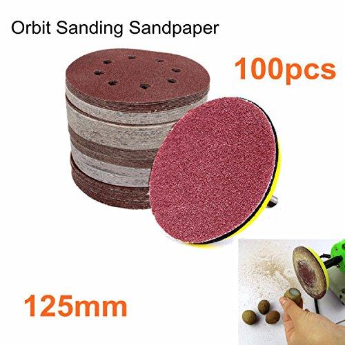 INSMA 100pcs 125mm 5 Sanding Sandpaper Discs 60 80 120 240 Grit Orbital Sander Pad