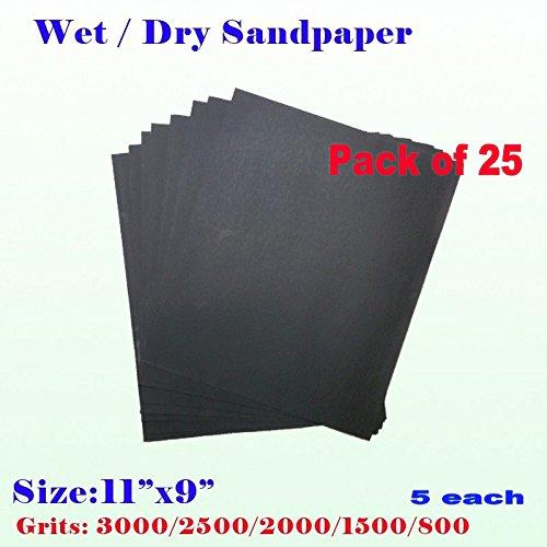 MTP Pack of 25 11 x 9 Wet Dry Sandpaper Sanding Paper Abrasive Assorted Grits 8001500200025003000 5 Each Grit Finishing Auto Body Sand Paper Full Sheet