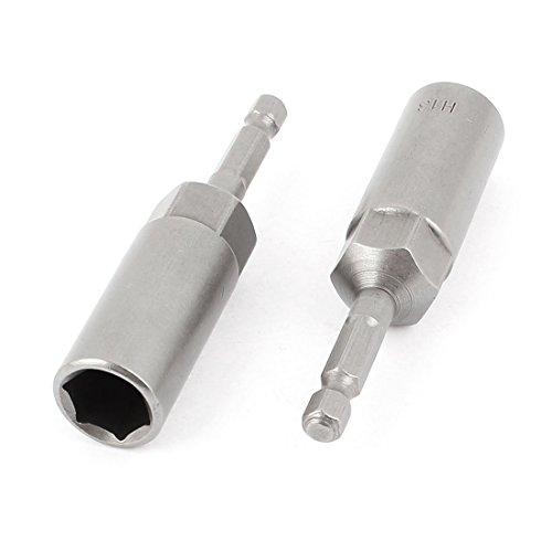 80mmx13mm Metal Screwdriver Drill Hex Nut Driver Socket Bit 2 PCS Gray
