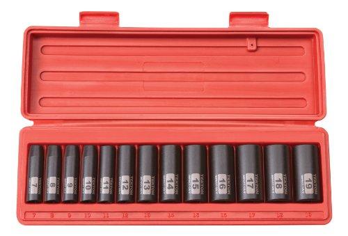 TEKTON 38-Inch Drive Deep Impact Socket Set Metric Cr-V 12-Point 7 mm - 19 mm 13-Sockets  47926