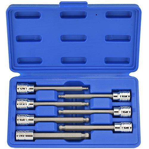 Neiko 10243A 38 Drive Extra Long Ball End Hex Bit Socket Set S2 Steel  7-Piece Set  Metric 3mm to 10mm