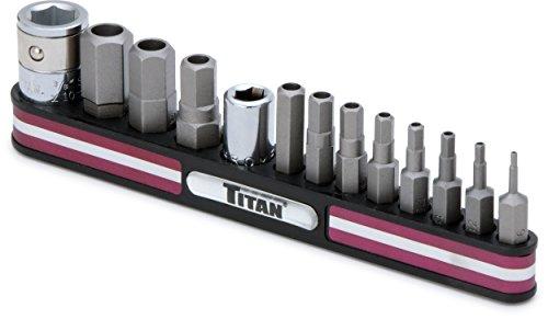 Titan Tools 16135 Tamper Resistant SAE Hex Bit Socket Set - 13 Piece