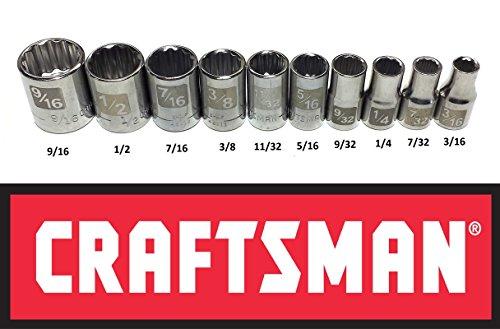 Craftsman Laser Etched Easy Read 10 Piece 14 Drive Standard SAE 12 Point Shallow Socket Set