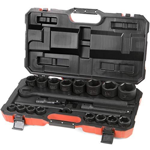 Stark 34 Drive Deep Impact Socket Set Sliding T-Bar 21 Pieces Master SAE Assortment Includes Ratchet Handle and Extension Bars