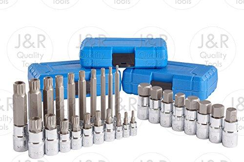 J&R Quality Tools 28pc Hex XZN 12 Point MM Triple Square Spline Bit Socket Set Tamper Proof Bit