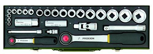 Proxxon 23020 Socket Spanner Set with 12 Inch and 14 Inch Ratchet 27-Piece Set by Proxxon