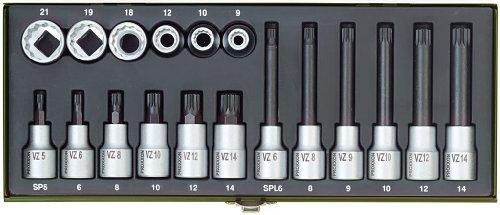 Proxxon 23296 Special Socket Spanner Set for Multi-Point Head Cap Screws Spline 18 Pieces by Proxxon