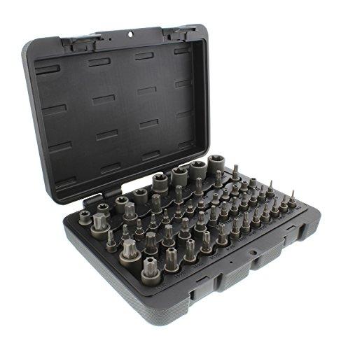 ABN Star Torx Bit Socket 52-Piece Set - SAE 14 38 12in 4-Point Square Drive T6-T70 E4-E24 TP8-TP60 TT8-TT60