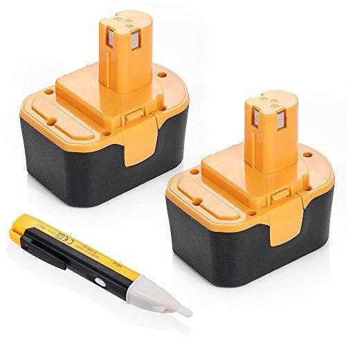 Powerextra 2 Pieces Ryobi 144V Replacement Battery 2000mAh 130224010 130224011 130281002 1314702 1400144 1400655 1400656 1400671 4400011