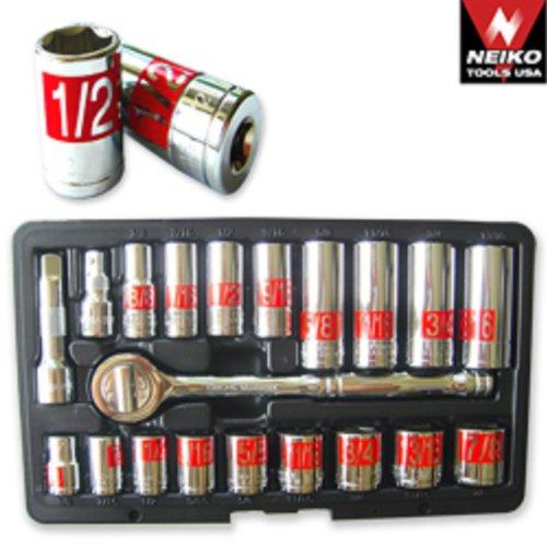 21pc 38 Dr Hi-viz Socket Set SAE Auto Mechanic Tools