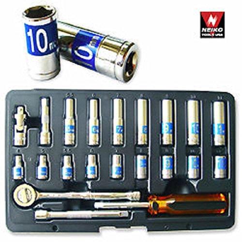 22pc 14 Dr Hi-viz Socket Set Mm Auto Mechanic Tools