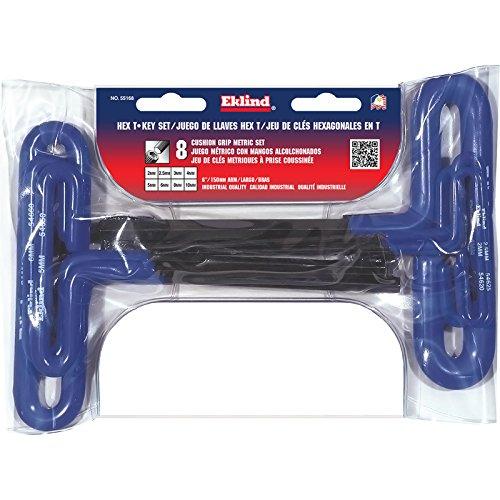 EKLIND 55168 Cushion Grip Hex T-Key allen wrench - 8pc set Metric MM sizes 2-10 6In shaft