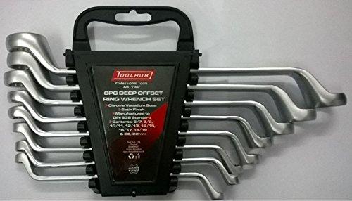 Deep offset double ring wrench set 8 piece 6x7 8x9 10x11 12x13 14x15 16x17 18x19 20x22mm