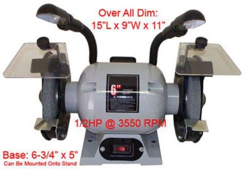12 HP Ball Bearing 6 Dual Wheel Grinder Flexible Lamp 3550 RPM