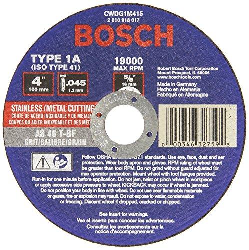 Bosch CWDG1M415 Type 1 Metal Cutting Wheel for Die Grinder 4-Inch 045 by 58-Inch Arbor