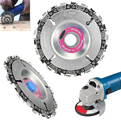 Angle Grinder Disc 22 Tooth Chain Saw Carving Blade Plate 4 for Wood Cutting Chainsaw Wheels Cutter 100115mm Circular Woodworking Engraving Tool