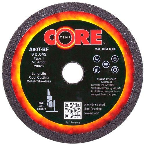 CoreTemp 20026 Type 1 Flat A60T Abrasive Cutting Wheel 10200 RPM 6 Diameter x 0045 Width 78 Arbor  Pack of 10