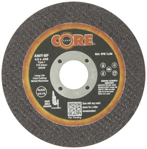 CoreTemp 20045 Type 1 Flat A60T Abrasive Cutting Wheel 13300 RPM 4-12 Diameter x 0045 Width 78 Arbor  Pack of 10