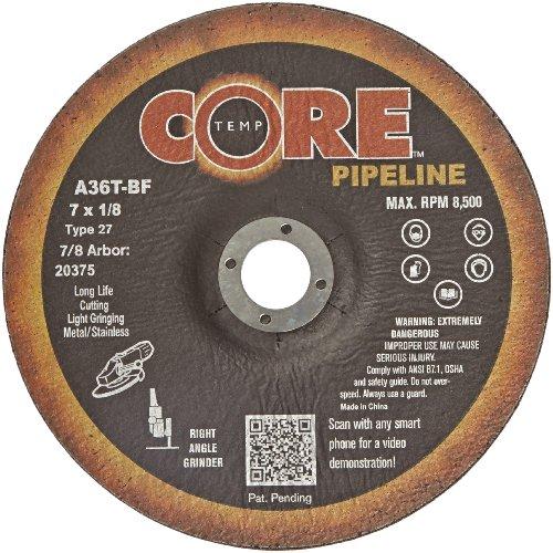CoreTemp 20375 Type 27 A36T Abrasive CuttingLight Grinding Pipeline Wheel Aluminum Oxide 8500 RPM 7 Diameter x 18 Width 78 Arbor  Pack of 10
