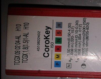 SANDVIK CARBIDE INSERT TCGX 090204 AL H10