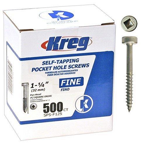 Kreg SPS-F125-500 Pocket Hole Screws 1-14-Inch 2 Fine Pan-Head 500ct