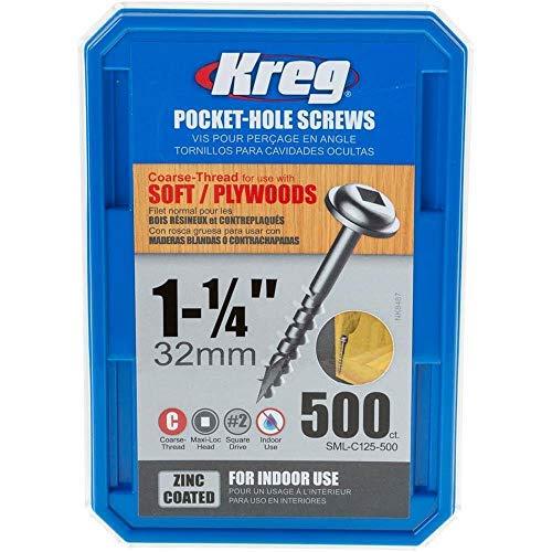 Kreg Pocket-Hole Screw 34  Thck No8x1-14  Washer Head 2 Square 500 Count