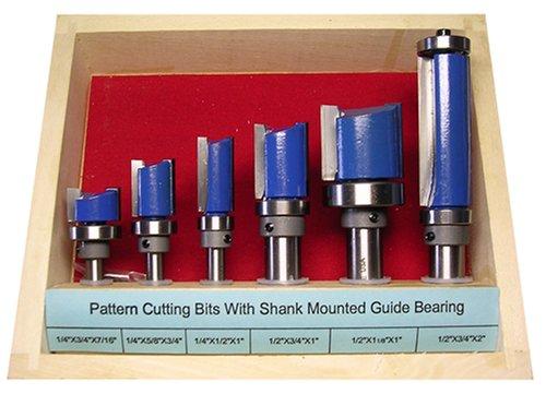 Woodline USA WL-2032 6-Piece 14-Inch and 12-Inch Shank Pattern Router Bit Set