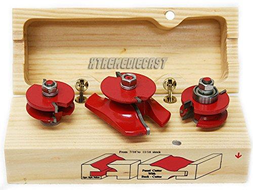 RisonÂ3 pc 12 Shank Ogee Cutter Router Bit Set Wood Cabinet Pro Power Tool Bits Kit