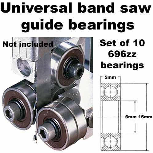 Universal Band Saw Guide Bearings Set of 10 Bearings Only