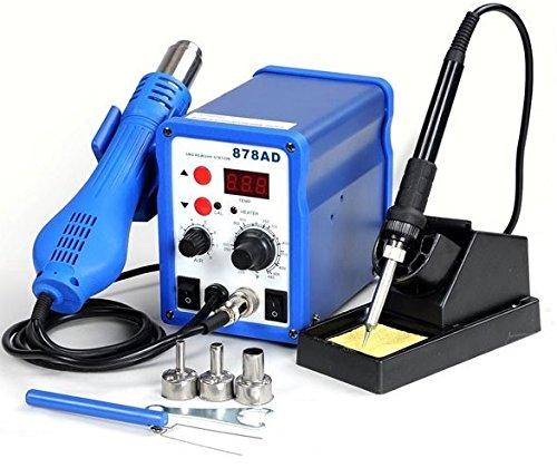 2in1 878ad Soldering Iron Rework Station Hot Air Gun  Tip  3 Nozzles Heat Gun Holder Welder Yihua