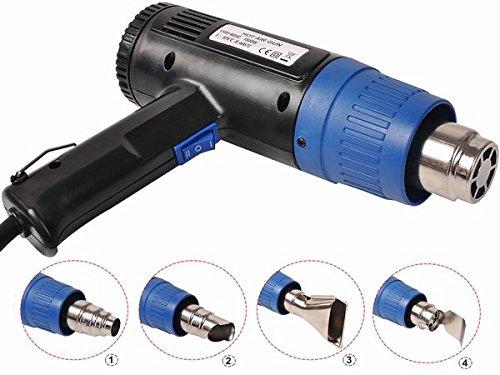 Safstar Dual Temperature 1500W Heat Gun Hot Air Gun  4 Nozzles Power Heater