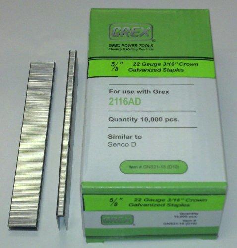 Grex GNS21-15D10 22 Gauge 316 Crown 58Long Galvanized Staples 10000BX