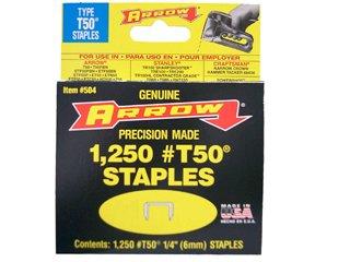 Arrow Fastener 505 4 Pack 516in T50 Heavy Duty Staples 1250 Staples Per Pack