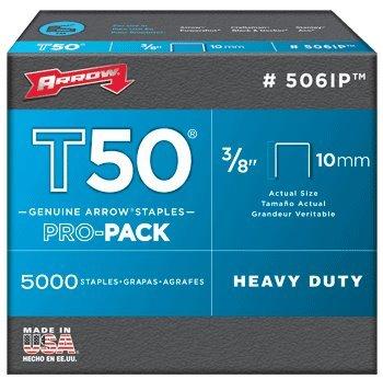 Arrow Fastener 506IP T50 38 Flat Crown Heavy Duty Steel Staples  2 Pro-Pack Bundle  10000 Total  5000 Each Box