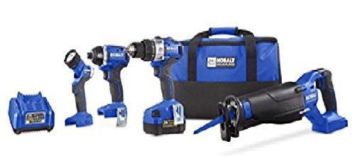 Kobalt Kobalt 24-Volt Max 4-Tool Lithium Ion Li-ion Brushless Motor Cordless Combo Kit with Soft Case