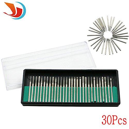 QST 30 pcs Diamond Burrs 05-35mm Diamond Drill Bit Cylindrical Burr Kit Jewelry Beach Sea Glass Shells Gemstones Lapidary 30 Size18 30PCS