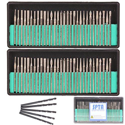 SPTA 60Pcs Mix Sharp Premium Diamond Drill Bit Diamond Grinding Head Mounted Burr Point Set And 5Pcs 3mm Twist Drill Bit For 18 Shank Dremel Rotary Tools Jade Jewelry