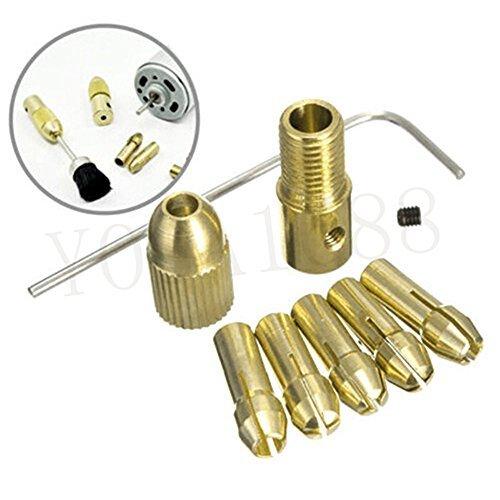 YOSA 8 Pcs 05-3mm Small Electric Drill Bit Collet Mini Twist Drill Tool Chuck Set