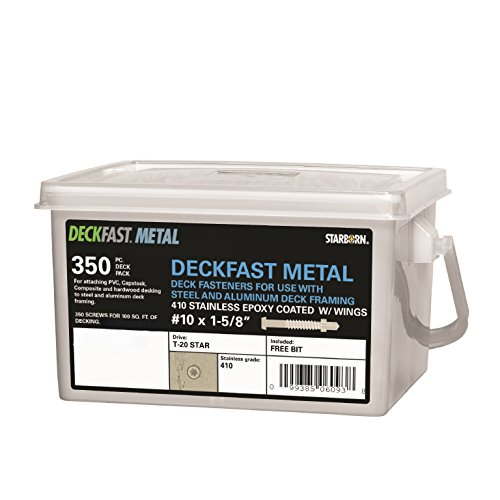Deckfast Metal - Brown 34 - 350 pc Deck Pack - 1-58 Self Drill - Type 410 Stainless Steel Deck Fastener for Use With Metal Joists Trex Elevations