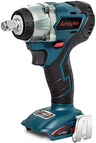 Amityke 18V Power Impact Wrench Cordless Brushless Wrench 4 Rev 12 Drive Automatic Power Tool Compatible with Makita 18V BL1850B BL1860B Lithium-Ion Battery with LED Light